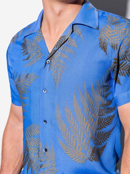 Mėlyni gėlėti vyriški marškiniai trumpomis rankovėmis internetu pigiau K558 15606-4
