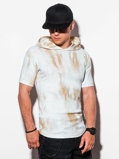 Rusvi marginti vyriški marškinėliai su gobtuvu internetu pigiau S1220 15619-1
