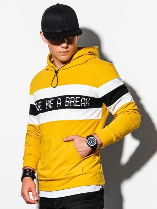 Geltonas vyriškas džemperis su gobtuvu internetu pigiau B1066 15807-1