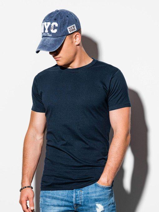 Vienspalviai tamsiai mėlyni vyriški marškinėliai internetu pigiau S884 15906-1