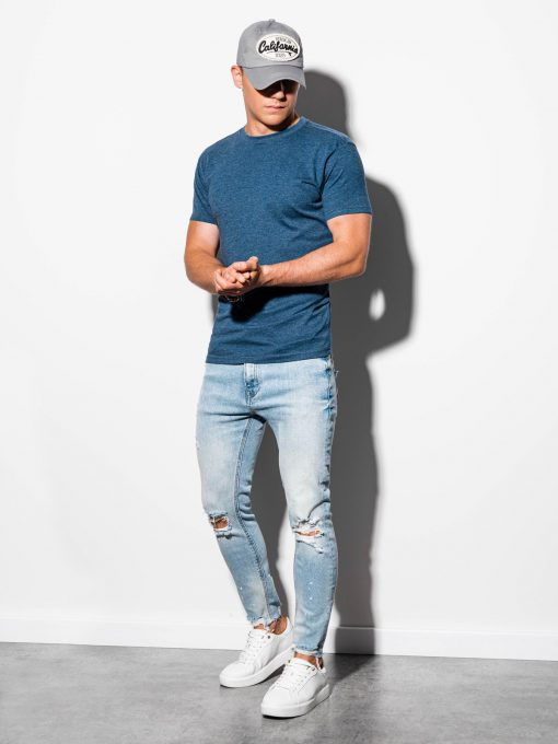 Vienspalviai tamsiai mėlyni-melanžiniai vyriški marškinėliai internetu pigiau S884 15907-1