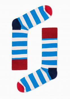 Mėlynos dryžuotos kojinės vyrams internetu pigiau U85 16029-1