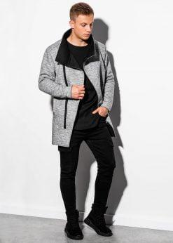 Pilkas madingas rudeninis paltas vyrams internetu pigiau C442 16120-1