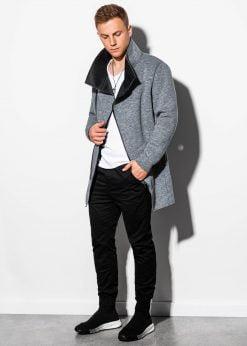 Tamsiai pilkas madingas rudeninis paltas vyrams internetu pigiau C442 16123-1