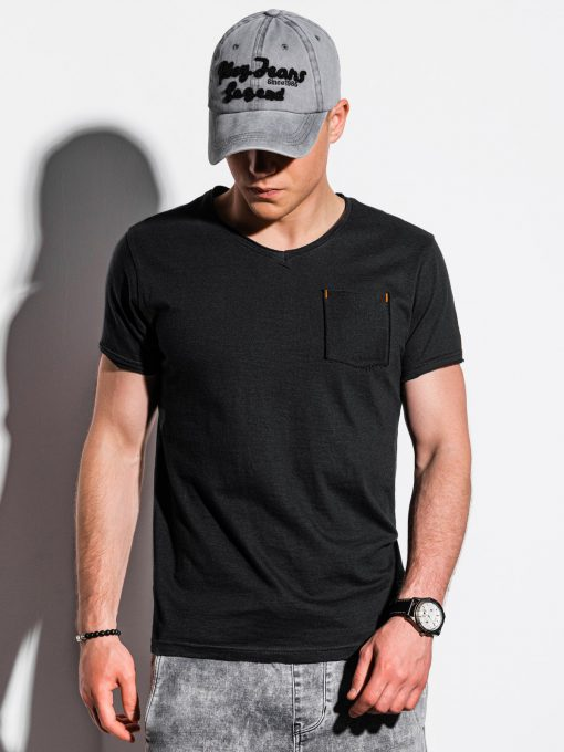 Juodi vienspalviai vyriški marškinėliai internetu pigiau S1100 13718-1