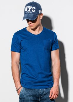 Tamsiai mėlyni vienspalviai vyriški marškinėliai internetu pigiau S1100 13720-3