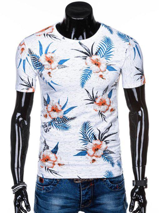 Balti gėlėti vyriški marškinėliai su aplikacijomis internetu pigiau S1246 14822-1
