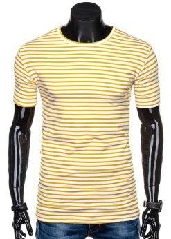 Balti dryžuoti vyriški marškinėliai internetu pigiau S1310 15339-1