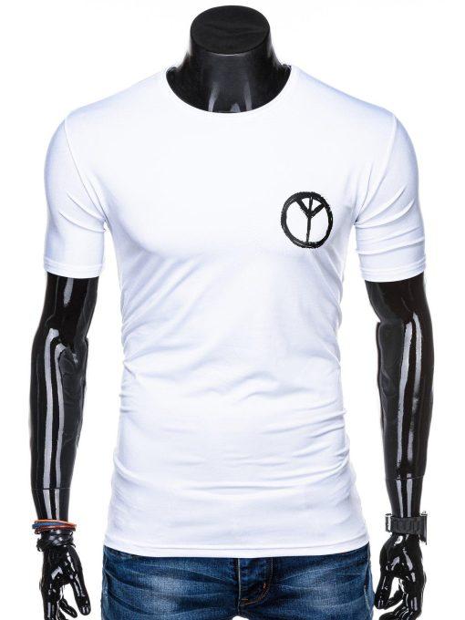 Balti vyriški marškinėliai su užrašu internetu pigiau S1316 15392-1