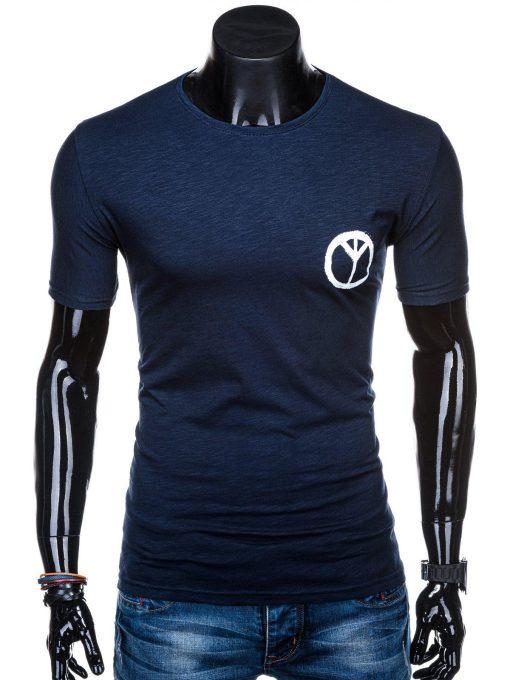 Tamsiai mėlyni vyriški marškinėliai su užrašu internetu pigiau S1316 15397-1