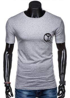 Pilki vyriški marškinėliai su užrašu internetu pigiau S1316 15400-1