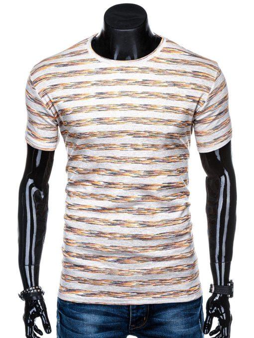Rusvi dryžuoti marškinėliai vyrams internetu pigiau S1319 15414-1