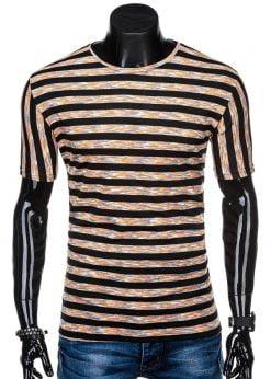 Juodi dryžuoti marškinėliai vyrams internetu pigiau S1319 15415-4