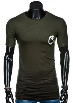 Chaki vyriški marškinėliai su užrašu internetu pigiau S1316 15601-1