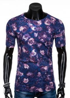 Tamsiai mėlyni gėlėti vyriški marškinėliai internetu pigiau S1322 15625-4