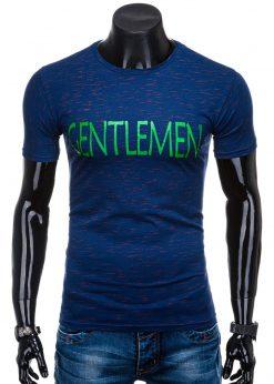 Tamsiai mėlyni vyriškimarškinėliai suužrašu internetu pigiauS1356 15682-1