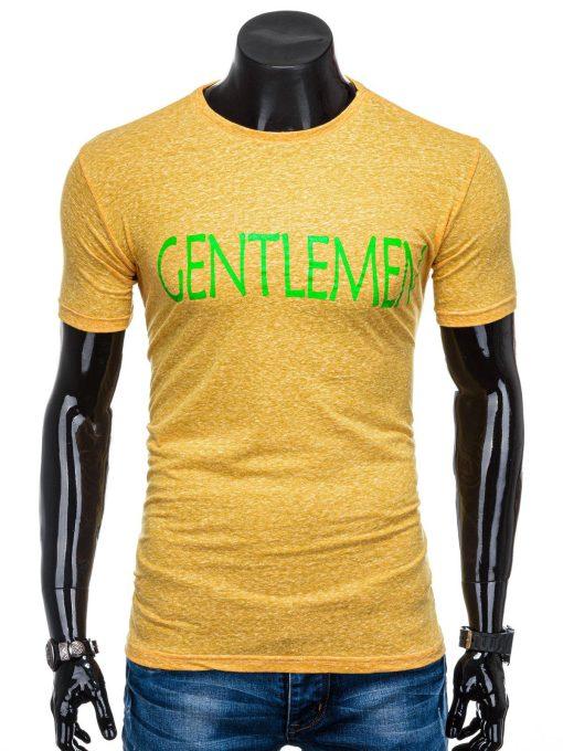 Geltoni vyriškimarškinėliai suužrašu internetu pigiauS1357 15689-1