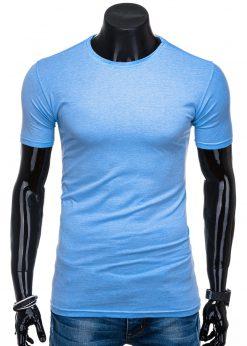 Vienspalviai šviesiai mėlyni vyriški marškinėliai internetu pigiau S1360 15692-1