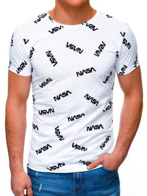 Balti vyriški marškinėliai su užrašais internetu pigiau S1391 17202-2
