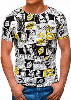 Balti vyriški marškinėliai su komikso paveiksliukais internetu pigiau S1394 17207-1