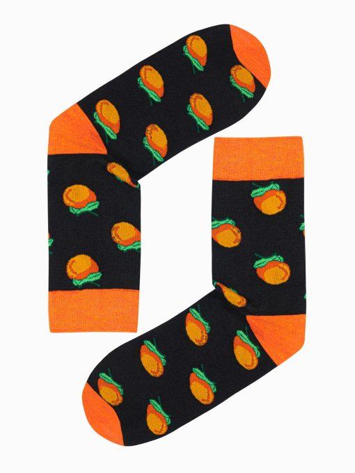 Juodos kokybiškos vyriškos kojinės su paveiksliukais internetu pigiau U103 17208-1