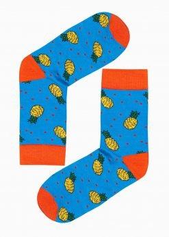 Mėlynos kokybiškos vyriškos kojinės su paveiksliukais internetu pigiau U104 17209-1