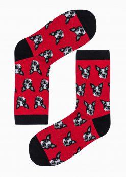 Raudonos kokybiškos vyriškos kojinės su paveiksliukais internetu pigiau U105 17210-1