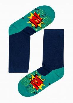 Žalios kokybiškos vyriškos kojinės su paveiksliukais internetu pigiau U106 17211-1