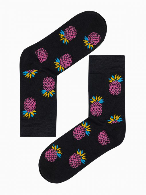 Juodos kokybiškos vyriškos kojinės su ananasais internetu pigiau U117 17250-1