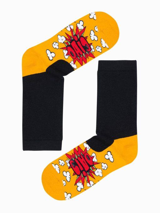 Geltonos kokybiškos vyriškos kojinės su paveiksliukais internetu pigios U121 17254-1