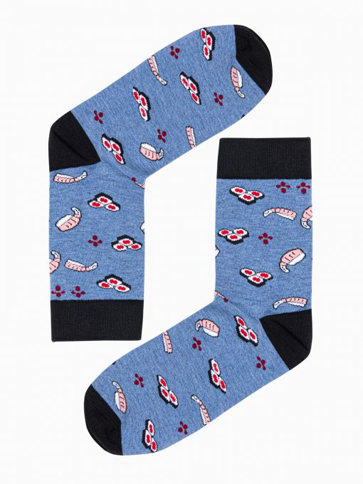 Mėlynos kokybiškos vyriškos kojinės su paveiksliukais internetu pigiau U102 17289-1