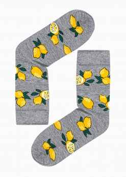 Pilkos kokybiškos vyriškos kojinės su paveiksliukais internetu pigiau U115 17292-2