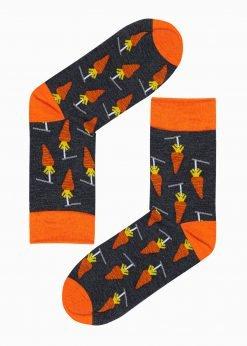 Tamsiai pilkos kokybiškos vyriškos kojinės su paveiksliukais internetu pigiau U116 17295-2