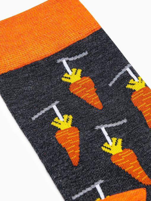 Tamsiai pilkos kokybiskos vyriskos kojines su paveiksliukais internetu pigiau U116 17295-4