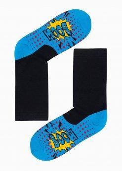 Mėlynos kokybiškos vyriškos kojinės su paveiksliukais internetu pigios U123 17313-1