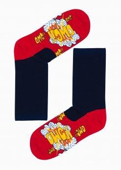 Raudonos kokybiškos vyriškos kojinės su paveiksliukais internetu pigios U124 17324-1
