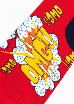 Raudonos kokybiskos vyriskos kojines su paveiksliukais internetu pigios U124 17324-3