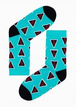 Mėtinės kokybiškos vyriškos kojinės su paveiksliukais internetu U126 17326-1