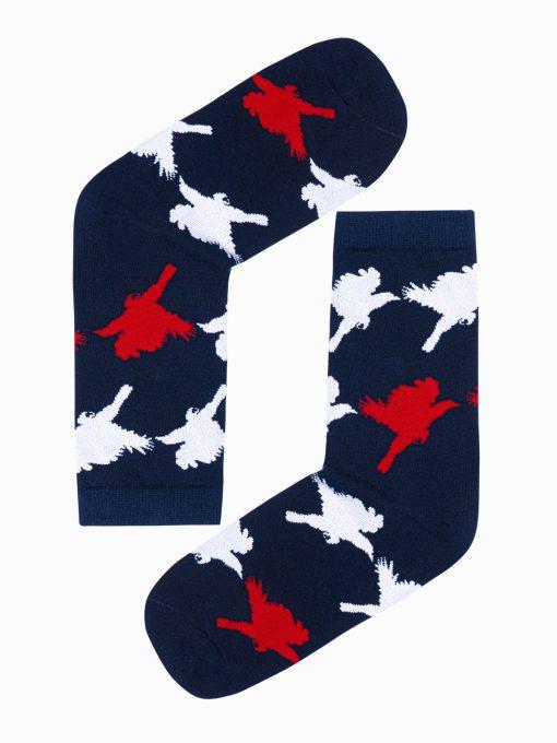 Tamsiai mėlynos kokybiškos vyriškos kojinės su paukščiais internetu U128 17328-1