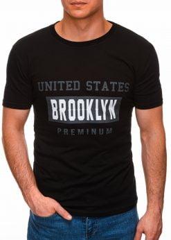 Juodi vyriški marškinėliai su užrašu internetu pigiau S1404 17351-4