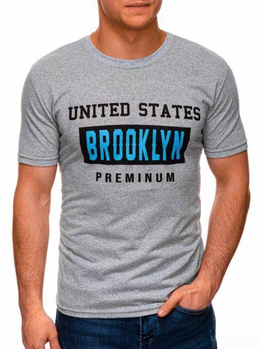 Pilki vyriški marškinėliai su užrašu internetu pigiau S1404 17352-2