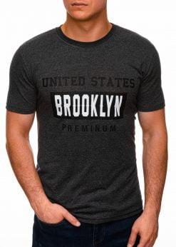 Juodi vyriški marškinėliai su užrašu internetu pigiau S1404 17353-2
