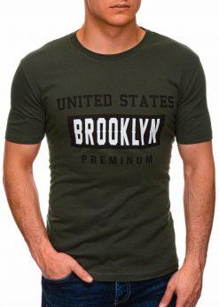 Chaki vyriški marškinėliai su užrašu internetu pigiau S1404 17354-2