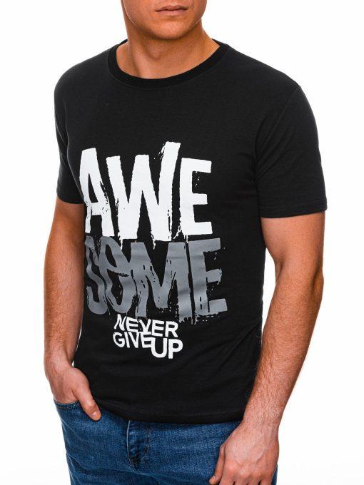 Juodi vyriški marškinėliai su užrašu internetu pigiau S1403 17355-1