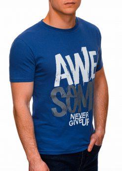 Mėlyni vyriški marškinėliai su užrašu internetu pigiau S1403 17356-1