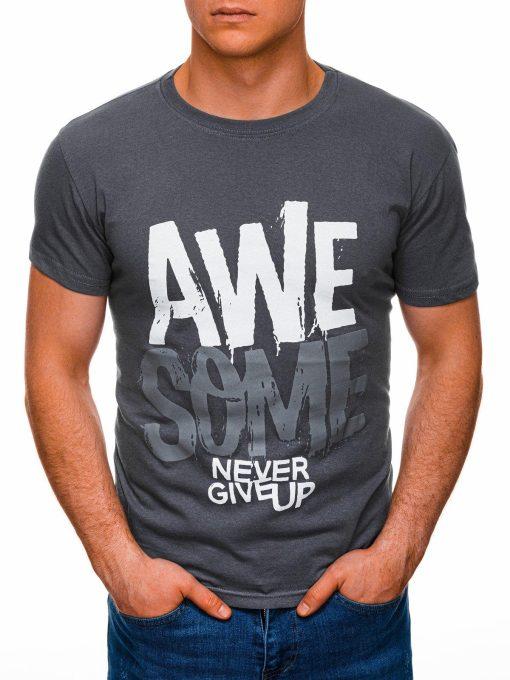 Tamsiai pilki vyriški marškinėliai su užrašu internetu pigiau S1403 17357-1