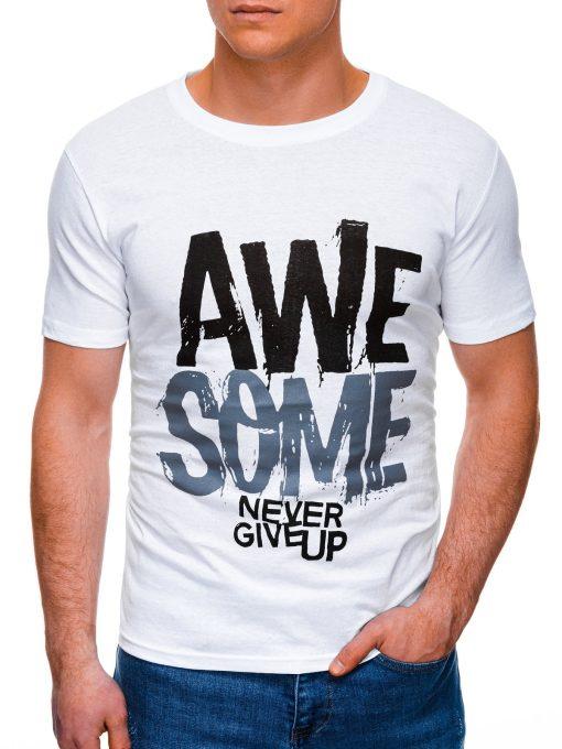 Balti vyriški marškinėliai su užrašu internetu pigiau S1403 17358-1