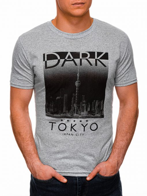 Pilki vyriški marškinėliai su užrašu ir aplikacija internetu pigiau S1401 17359-1
