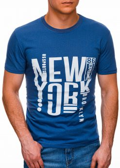 Mėlyni vyriški marškinėliai su užrašu internetu pigiau S1400 17361-1