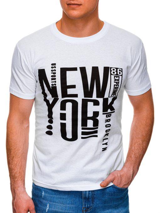 Balti vyriški marškinėliai su užrašu internetu pigiau S1400 17362-1